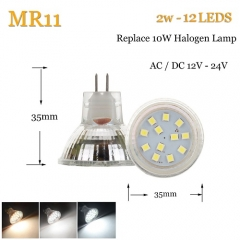 RANPO 2W LED Bulb Spotlight MR11 White 2835 SMD Halogen Lamp Replacement 12-24V