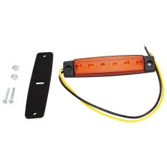 6 LED Yellow Color Trailer Truck Clearance Side Marker Submersible Light Width Lamp 12V 24V
