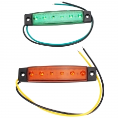 6 LED Green Color Trailer Truck Clearance Side Marker Submersible Light Width Lamp 12V 24V