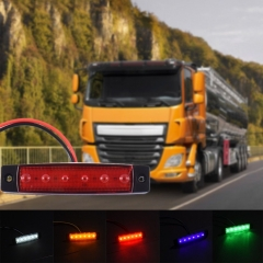 6 LED Blue Color Trailer Truck Clearance Side Marker Submersible Light Width Lamp 12V 24V