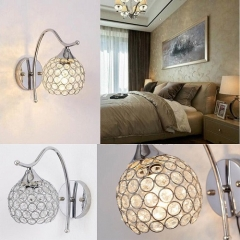 RANPO Type 2 Silver Crystal LED Wall Lamp Sconce Light Home Bedroom Bedside Hallway Fixture