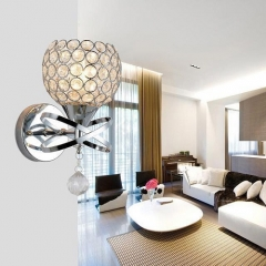 RANPO Type 1 Silver Crystal LED Wall Lamp Sconce Light Home Bedroom Bedside Hallway Fixture