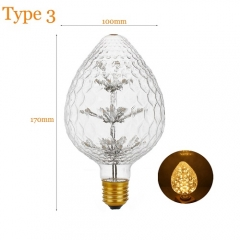RANPO Type 3 2W Antique Retro Vintage Edison Light Bulbs Lamp E27 Filament Bulbs 220V