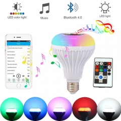 LED Wireless Blue tooth Bulb Light Speaker 12W RGB Smart Music Play Lamp + Remote