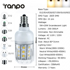 RANPO E27 5W 2835 SMD LED Corn Bulb Lamp Light 110V 220V