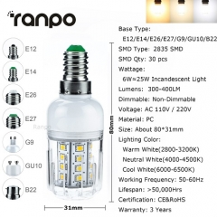 RANPO G9 6W 2835 SMD LED Corn Bulb Lamp Light 110V 220V