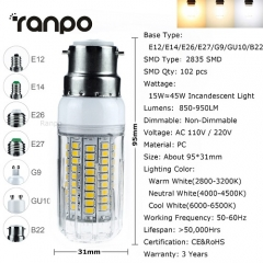 RANPO G9 15W 2835 SMD LED Corn Bulb Lamp Light 110V 220V