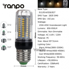 RANPO 15W E12 LED Corn Bulb 2835 SMD Light Lamp 110V Bright