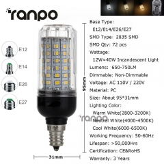 RANPO 12W E14 LED Corn Bulb 2835 SMD Light Lamp 220V Bright