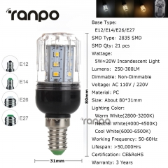 RANPO 5W E12 LED Corn Bulb 2835 SMD Light Lamp 110V Bright