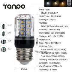RANPO 6W E26 LED Corn Bulb 2835 SMD Light Lamp 110V Bright
