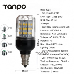 RANPO 9W E27 LED Corn Bulb 2835 SMD Light Lamp 110V 220V Bright