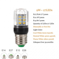 RANPO 9W E12 5730 SMD LED Corn Bulb Light Bright 110V DC12V DC24V