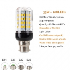 RANPO 35W B22 5730 SMD LED Corn Bulb Light Bright 220V