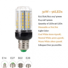 RANPO 30W B22 5730 SMD LED Corn Bulb Light Bright 220V