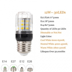 RANPO 12W E26 5730 SMD LED Corn Bulb Light Bright 110V