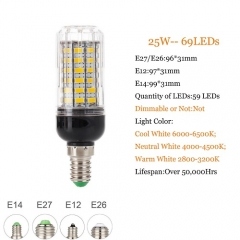 RANPO 25W E12 5730 SMD LED Corn Bulb Light Bright 110V