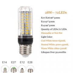 RANPO 28W E26 5730 SMD LED Corn Bulb Light Bright 110V