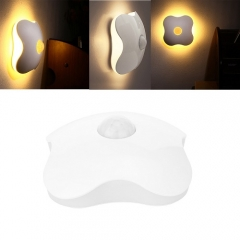 Ranpo USB Human Body Motion Sensor LED Lamp Wall Night Light Hallway Four Leaf Clover Bulb