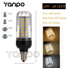RANPO Dimmable 12W E26 LED Corn Bulb 5730 SMD Light White Lamp