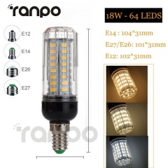 RANPO Dimmable 18W E12 LED Corn Bulb 5730 SMD Light White Lamp