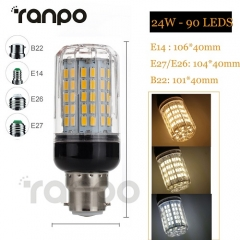 RANPO Dimmable 24W E27 LED Corn Bulb 5730 SMD Light White Lamp