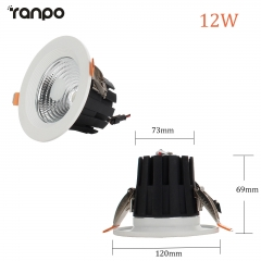 RANPO 12W LED Recessed Ceiling Downlight Bulb Round Lamp AC100-265V