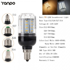 RANPO Dimmable 9W E14 LED Corn Bulb Light White Lamp AC 220V