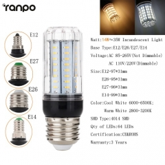 RANPO Dimmable 14W E14 LED Corn Bulb Light White Lamp AC 220V