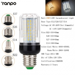 RANPO Dimmable 25W B22 LED Corn Bulb Light White Lamp AC 220V