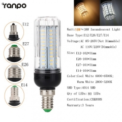 RANPO 18W E14 LED Corn Bulb Light White Lamp AC 85-265V