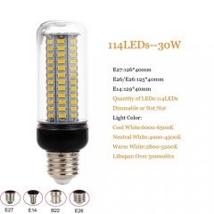 RANPO E26 LED Corn Bulb Lamp Light 5730 SMD 114LEDs 30W Bright 110V 220V