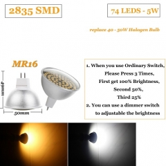 RANPO 5W MR16 Dimmable LED Spotlight Bulb 2835 SMD 110V 220V Light Lamp Bright