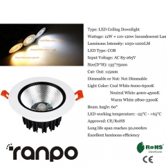RANPO 12W LED Ceiling Light Recessed Downlight Lamp 85-265V Equivalent