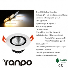 RANPO 5W LED Ceiling Light Recessed Downlight Lamp 85-265V Equivalent