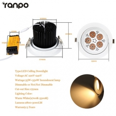 RANPO 35W LED Ceiling Downlight Lamp Recessed Down Lights Bright 220V + Driver