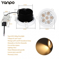 RANPO 40W LED Ceiling Downlight Lamp Recessed Down Lights Bright 220V + Driver