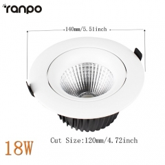 RANPO 18W Recessed COB LED Ceiling Light Downlight Bulb Lighting Lamp