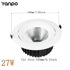 RANPO 27W Recessed COB LED Ceiling Light Downlight Bulb Lighting Lamp