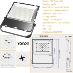 RANPO 200W LED Flood Light IP65 Waterproof 3030 SMD Spotlight Lamp 110V 220V