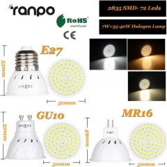 RANPO 7W GU10 LED Bulb Spotlight 2835 SMD Lamp Equivalent 110V 220V