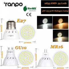 RANPO 5W GU10 LED Bulb Spotlight 2835 SMD Lamp Equivalent 110V 220V