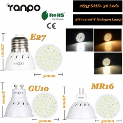 RANPO 3W GU10 LED Bulb Spotlight 2835 SMD Lamp Equivalent 110V 220V