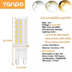 RANPO 6W Dimmable LED Corn Bulb G9 COB SMD Ceramic Replace Halogen Lamp Light
