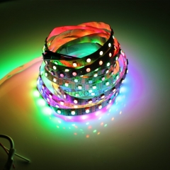 RANPO Waterproof in Silicon Coating Black PCB 300LEDs/M IC Lamp WS2812B 5V LED Strip Waterproof 5050 RGB Light WS2812