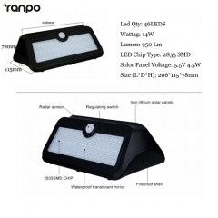 Ranpo 14W LED Solar Power PIR Motion Sensor Wall Light Outdoor Yard Garden Lamp Waterproof