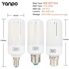 RANPO 12W B22 5736 SMD LED Corn Bulb Light White Lamp AC 110V 220V