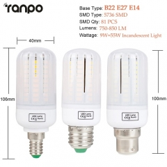 RANPO 9W B22 5736 SMD LED Corn Bulb Light White Lamp AC 110V 220V