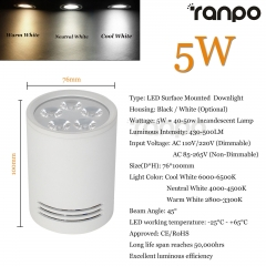 RANPO 5W White Shell LED Ceiling Downlight Surface Mounted Fixture 85-265V