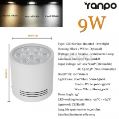RANPO Dimmable 9W Black Shell LED Ceiling Downlight Surface Mounted Fixture 110V 220V